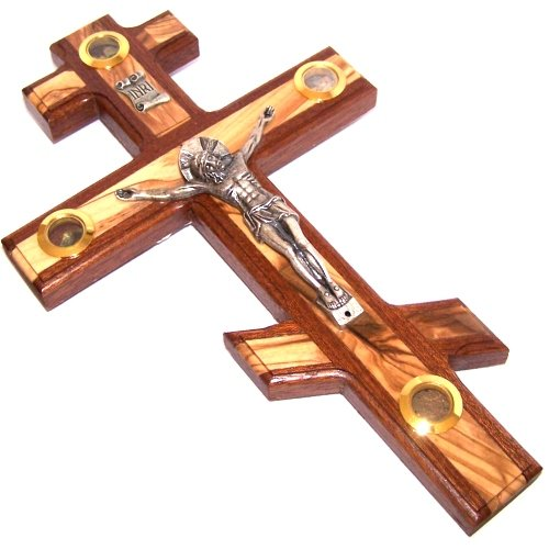 Patriarchal Three bar Crucifix with Holy Land Samples. Made frm Mahagony and Embedded with Olive Wood (25cm or 10 inch) (In The Eastern Orthodox Church Icons Were)