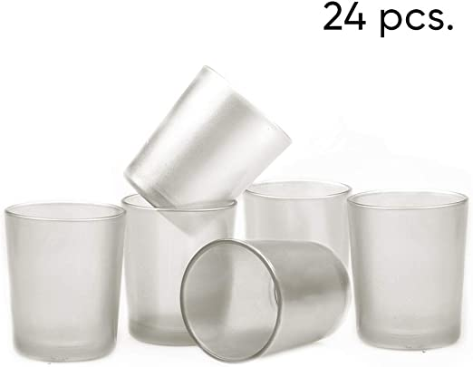 Premium Set of 24 Silver Metallic Votive Candle Holder Ideal For Weddings Special Events Wholesale Bulk Pack Parties