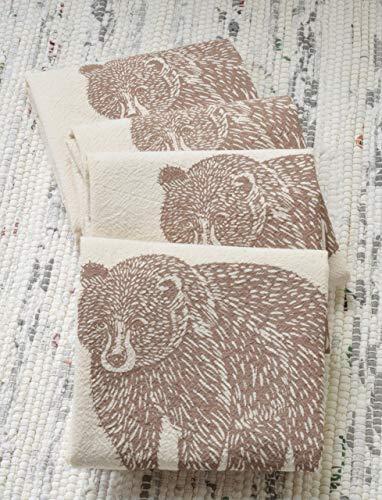(Cloth Napkins - Set of 4 - Bear Design in Mocha Brown - Organic Cotton)