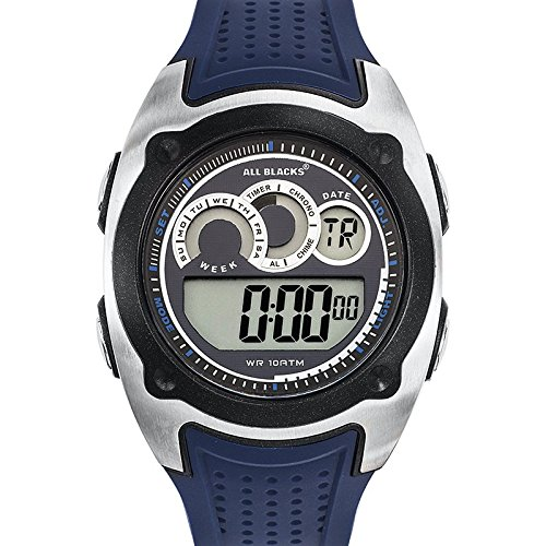 All Blacks-680282-Reloj-hombre cuarzo, Digital, correa de plástico, diseño de esfera, color azul