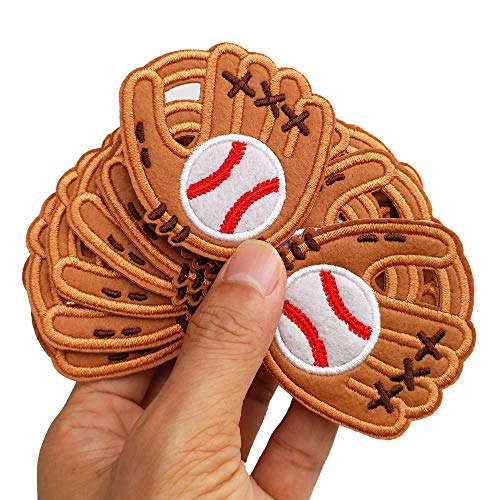 """2.2""""x2.6"""" 12pcs Baseball Softball Glove Iron On Embroidered Patches Appliques for Sport Cap Hat Machine Embroidery Needlecraft Sewing Craft"""