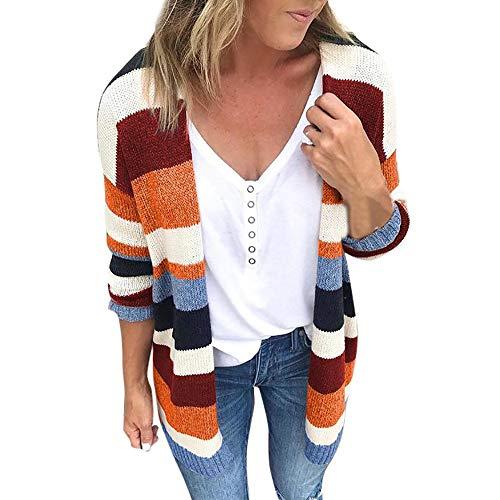 Kaftan For Women,Kulywon Plus Size Womens Patchwork Long Sleeve Rainbow Stripe Cardigan Tops Sweater Coat(S/US 10,Multicolor-1) ()