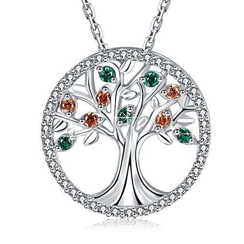 MEGA CREATIVE JEWELRY 925 Sterling Silver Family Tree Life Pendant Necklace Crystal from Swarovski