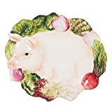 French Market Collection, Canape Plate, White/Green/Pink