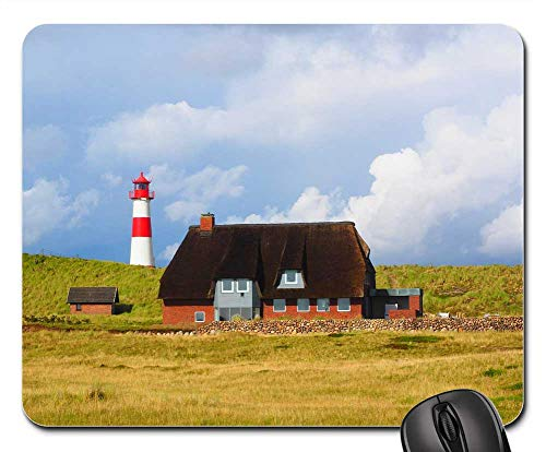 Mouse Pad - Lighthouse Sylt Elbow Red-and-White Striped