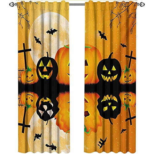 Returiy Halloween, Kitchen Curtains and Valances Set, Spooky Carved Halloween Jack o Lantern and Full Moon with Bats and Grave Lake, Curtains Kitchen, W72 x L108 Inch, Orange Black ()