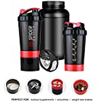 Flitzip Protein Shaker Bottle with Mixing Ball and Storage, 500 ml, Gym Blender Bottle & Drinking Bottle – 100…