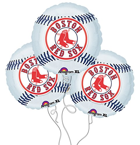 Boston Red Sox Baseball Mylar Balloons - 3 Pack
