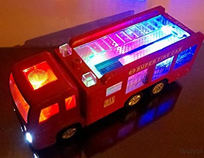 "WolVol Electric Fire Truck Toy with Stunning 3D Lights and Sirens (""fire alarm, lets go"", ""out of my way""...), goes around and changes directions on contact - Great Gift Toys for Kids"