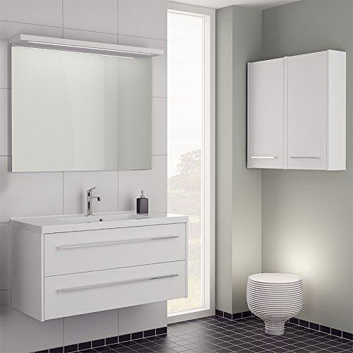 Design Badezimmer Set weiß matt 110cm Waschtisch Spiegel Waschplatz Badmöbel