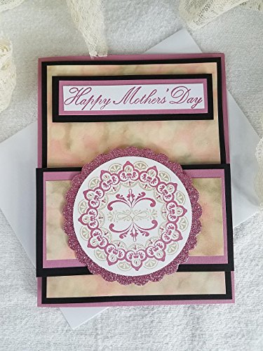 Happy Mother's Day Handmade Mother's Day Card with Stamped Multi Colored Medallion and Layers of Warm Colors Pack of 1 (Stamped Medallion)
