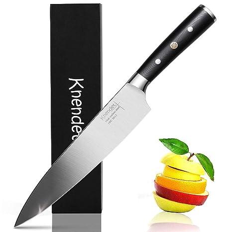 Cuchillo de cocina de 8 pulgadas, material de manija bien balanceada y G10 con acero inoxidable de alto carbono alemán, cuchillos de chef profesional ...