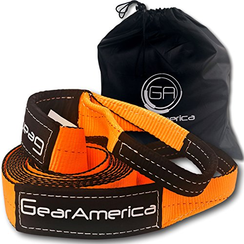 GearAmerica Recovery Tow Strap 3'' x20' | Heavy Duty Lab Tested 35,054 lbs (17.5 Tons) Strength | Triple Reinforced Loops + Protective Sleeves | Emergency Off Road 4x4 Towing | Free Storage Bag by GearAmerica