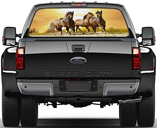 Horses Running in Sunset Rear Window Graphic Decal Sticker Car Truck SUV Van 204, Regular Car Rear Window Graphics