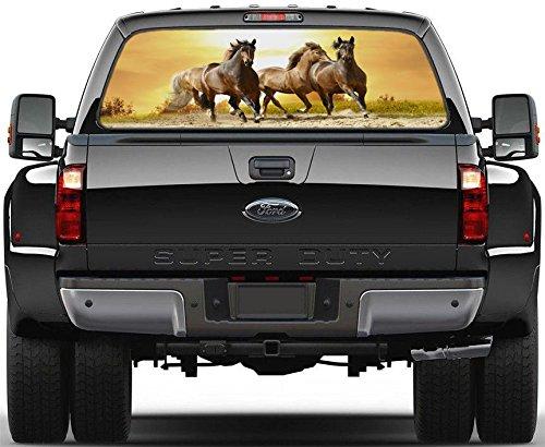 Horse Rear Window - Horses Running in Sunset Rear Window Graphic Decal Sticker Car Truck SUV Van 204, Regular