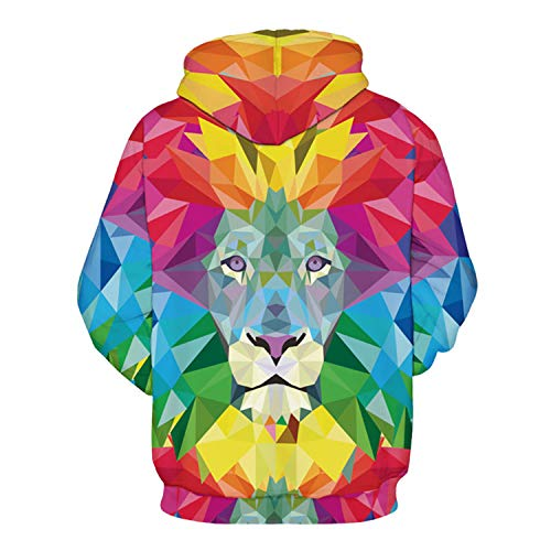 3D Colorful Lion,Men Hoodies Women Hooded Sweatshirts Autumn Novelty Pullover Male Tracksuits Fashion Printed Casual Outwear by Francis4 (Image #1)