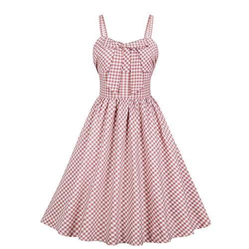 Wellwits Women's Big Bow Strap Check Plaid Vintage Dress with Pocket Sundress XL