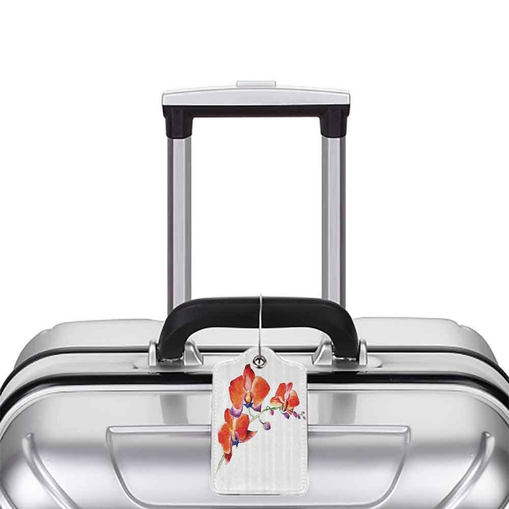 Personalized luggage tag Floral Orchid Flower Branch with Vivid Color Petals Blossom Botany Blooms Picture Easy to carry Orange Violet White W2.7 x L4.6