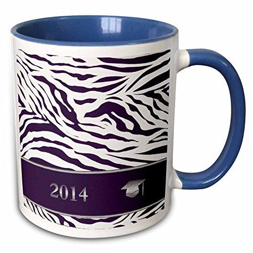 3dRose Beverly Turner Graduation Design - 2014 Zebra Print with Graduation Cap, Purple - 15oz Two-Tone Blue Mug (mug_180904_11)