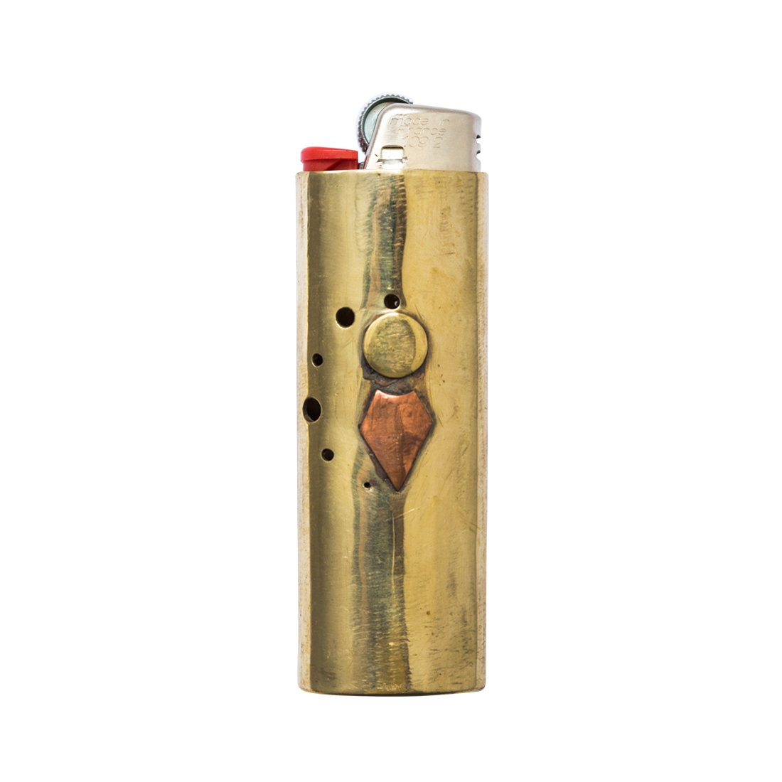 Pure Bronze Hand Hammered BIC Lighter Case With Copper Patina Symbol Handmade by Hide & Drink :: Arrow B01J65P45K