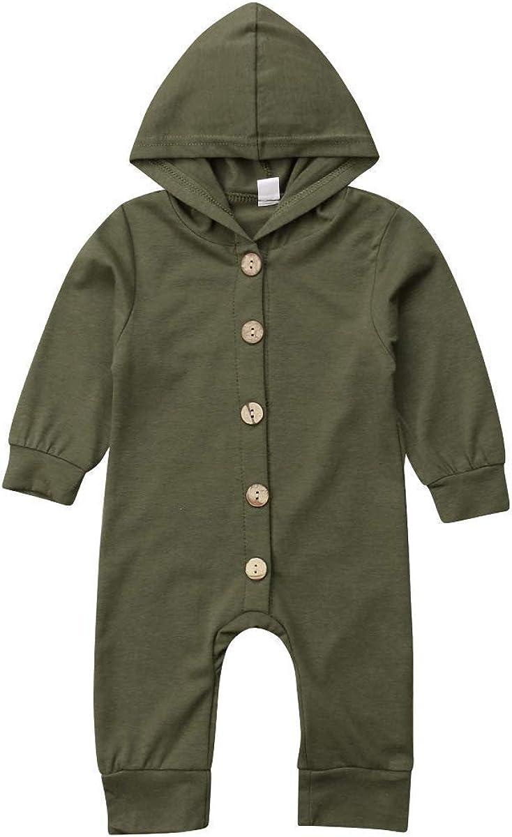 WangsCanis 0-24 Monate Baby Jungen M/ädchen Kleidung Outfit Mit Kapuze Spielanzug Button-Down Gestreiften Hoodie Strampler