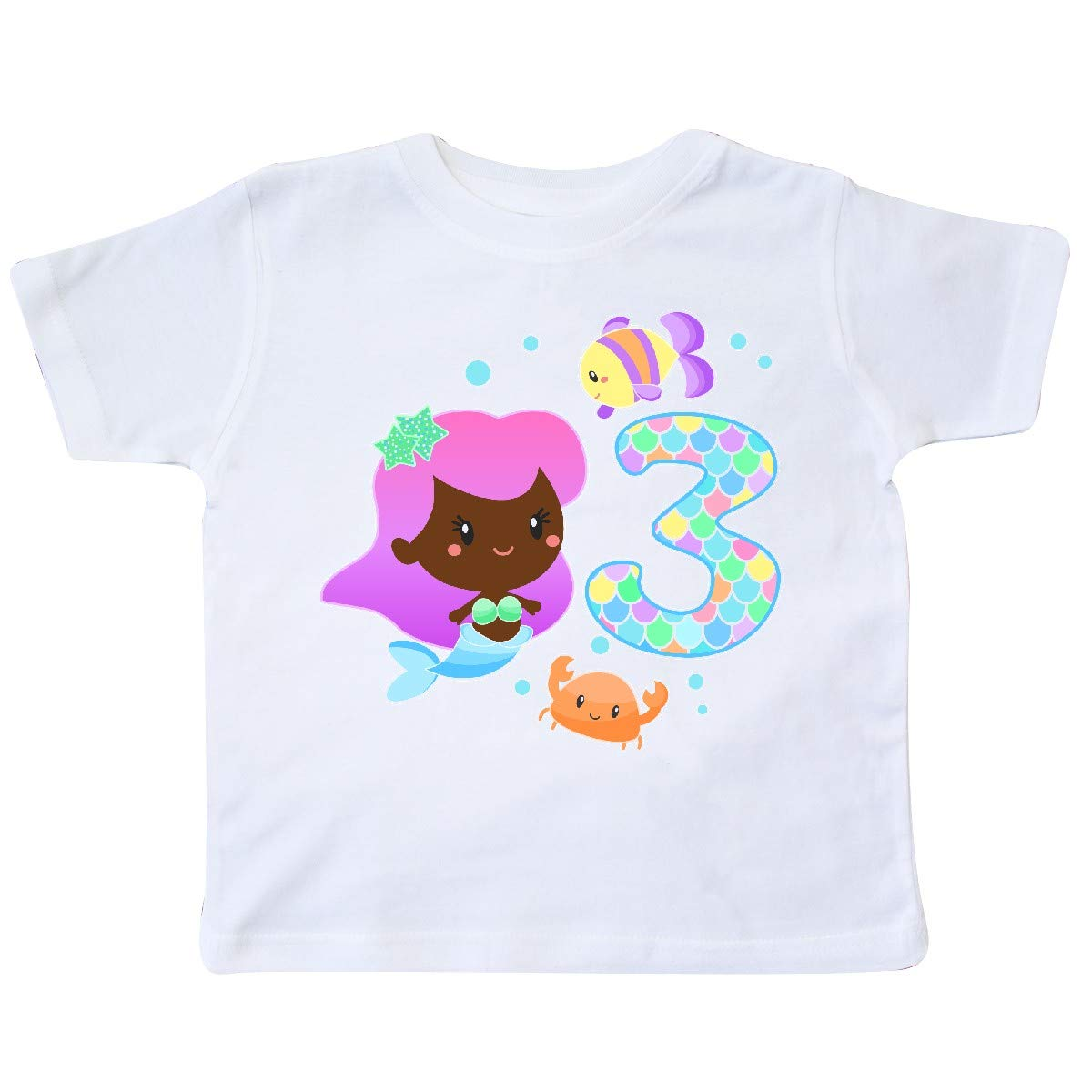 inktastic Third Birthday Mermaid with Fish and Crab Toddler T-Shirt