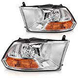 Headlight Assembly for 2009-2018 Dodge Ram 1500 2500 3500 Pickup Dual Cab Trims Headlamp Replacement,Chrome Housing Clear Lens(Not for Quad Models,Pair)