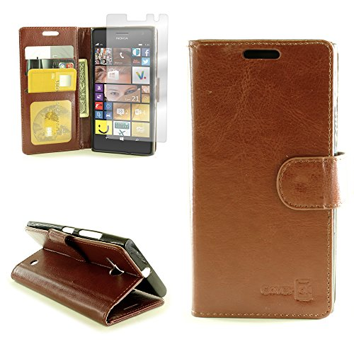 Click to buy Nokia Lumia 735 Premium Synthetic Leather Wallet Phone Case and Screen Protector | CoverON [Executive Pouch Series] | Durable Smooth Feel (Brown) Flip Stand Cover with Credit Card and Cash Holder Slots for Nokia Lumia 735 - From only $1409.17
