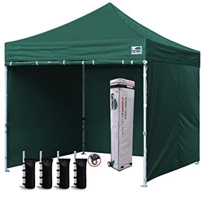Eurmax 10x10 Pop up Canopy with sidewalls Roller bag Sandbags Green : Garden & Outdoor