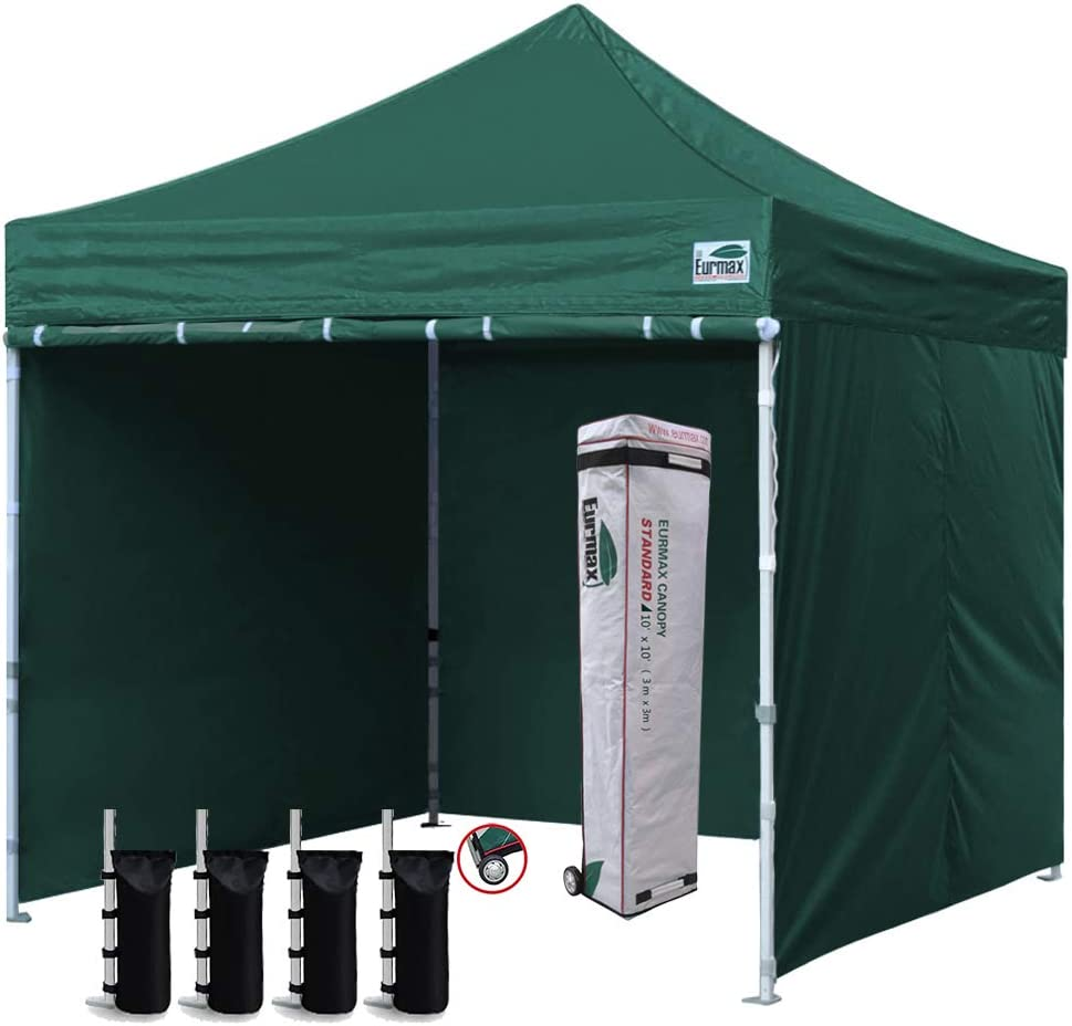 Eurmax 10×10 Pop up Canopy with sidewalls Roller bag Sandbags Green