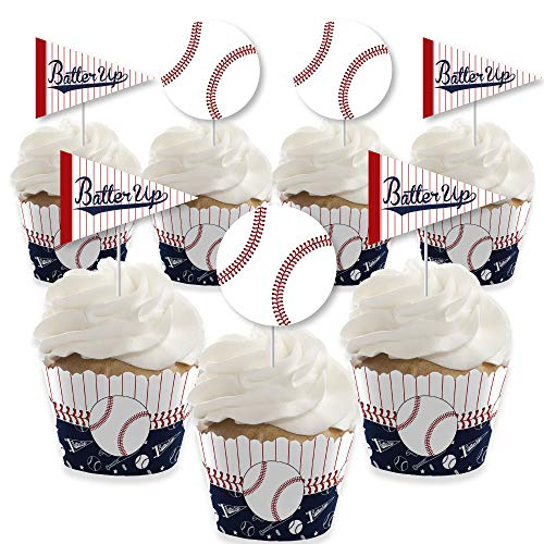 - Batter Up - Baseball - Cupcake Decoration - Baby Shower or Birthday Party Cupcake Wrappers and Treat Picks Kit - Set of 24