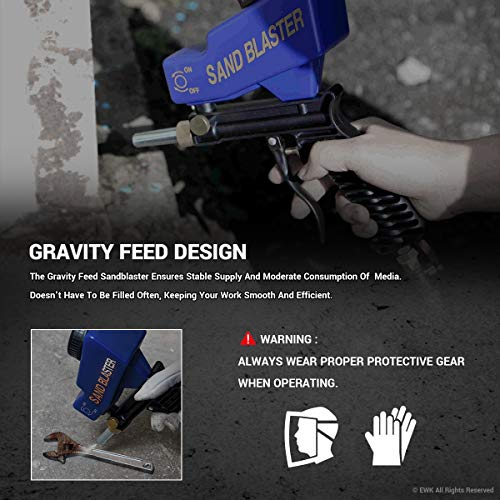 EWK Portable Media Spot Sand Blaster Gun, Gravity Feed Hand Held Sandblaster, Rust Remover by EWK (Image #3)