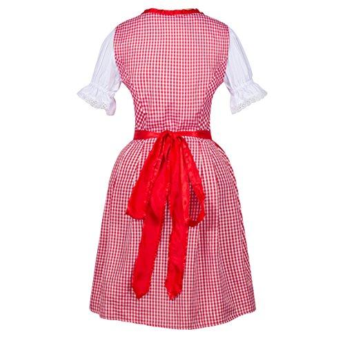 Donna Della Per Himone Adulti Dirndl Vestito Bavarese Oktoberfest Costume 3 Rot Tradizionale nbsp;pezzi Da Ragazza Birra q7vpxC7Iw