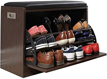 Shoe Ottoman Bench Easy To Use Self Assembly Space Saving Wide 2 Tier Storage Shelf