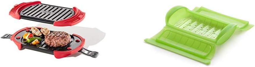 Lékué Microwave Grill, Red microondas, Acero, rojo y negro + - Estuche de vapor con bandeja, 1-2 personas, color verde: Amazon.es