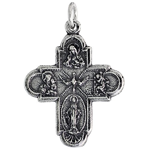 Sterling Silver Scapular Cross Necklace