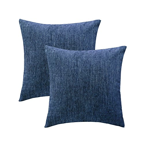 HWY 50 Cotton Linen Soft Comfortable Natural Soild Decorative Throw Pillows Covers Sets Cushion Cases for Couch Sofa Bed Living Room Blue 20 x 20 Inches Pack of 2
