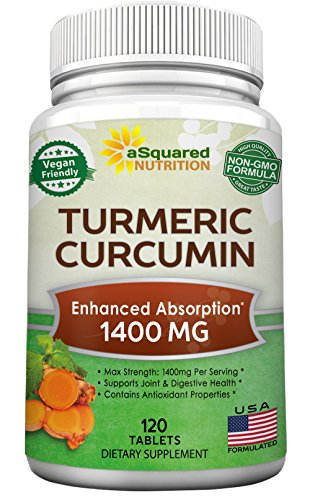 Pure Turmeric Curcumin 1400mg Supplement - 120 Tablets - 100% Natural Tumeric Root Powder & Black Pepper Extract Formula, Joint Pain Support Veggie Pills, Anti-Inflammatory Antioxidant - Root 100 Tablets