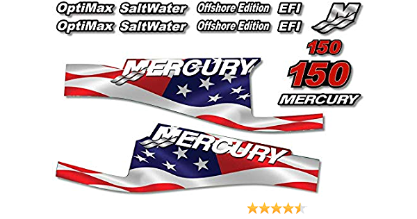 Teal AMR Racing Outboard Engine Motor Sticker Decal Graphics kit for Mercury 135