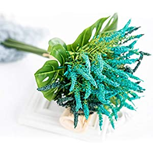 BELUPAID Artificial Lavender Bouquet with Palm Leaves, Fake Flowers Home Decor Handmade Vivid Artificial Plants Decoration for Living Room Bedroom Cafe Store Wedding Anniversary 74