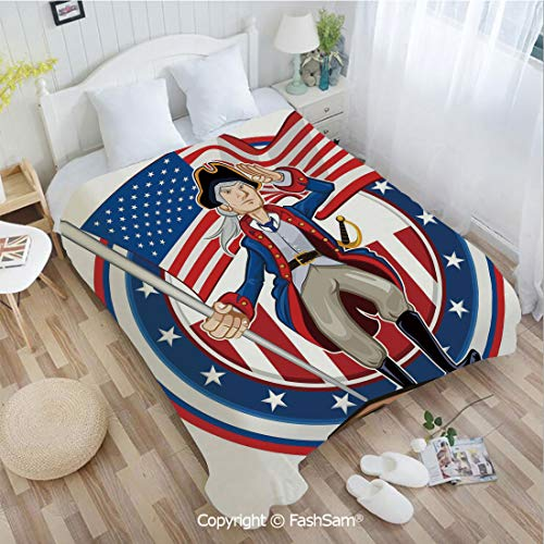 PUTIEN Flannel Fleece Blanket with 3D American Patriot Emblem Cartoon Style Fourth of July Decor Country History Lightweight for Adults(49Wx78L)