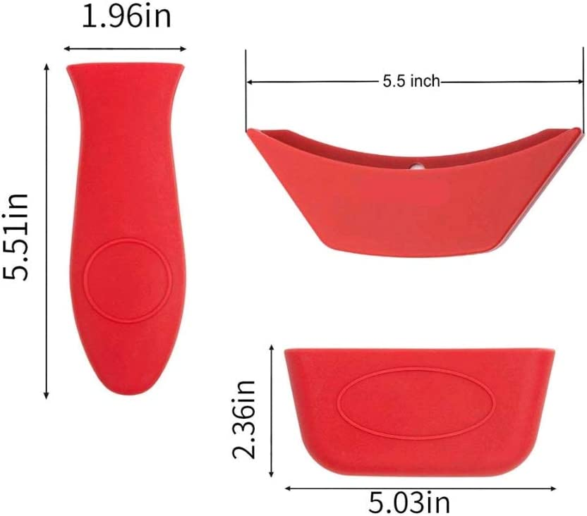 3 Pack Silicone Hot Handle Holder, Hot Mitts, Assist Holder Non Slip Heat Protecting Handle Cover for Cast Iron Skillets, Frying Pans & Griddles, Metal and Aluminum Cookware Handles (Red)