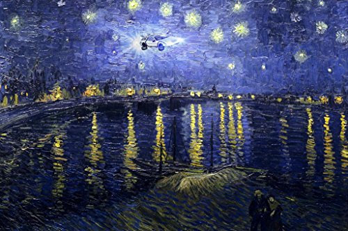 Poster Foundry Time Machine on a Starry Night Vincent Van Gogh Art Humor Stretched Canvas Wall Art 16×24 inch