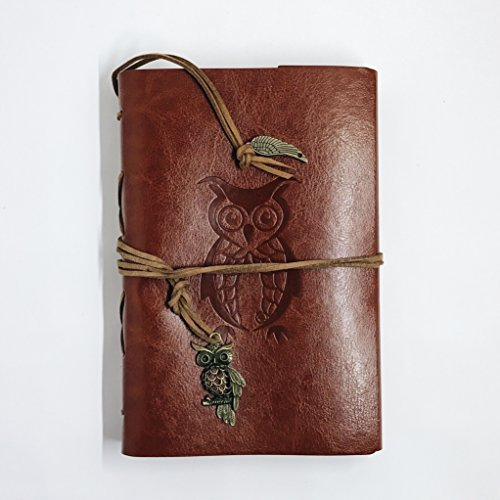 Classic Refillable Writing Journal (Cute Owl Embossing) - Vintage Leather (PU) Design- Includes Extra Refill Paper - Time International Class First Delivery