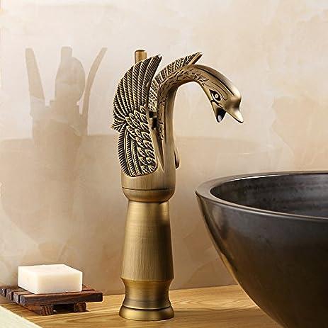 IFaucet Antique Brass Bathroom Sink Faucet Centerset Widespread Vessel  Faucet Modern Single Handle Single Hole Faucets