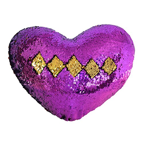 TRLYC Mermaid Throw Pillow with Insert, Two-Color Reversible Sequins Pillow Cases Heart Shape Mermaid Decorative Cushion 33x38cm(Purple and Gold) ()