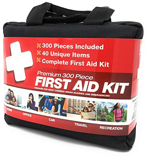 M2 BASICS 300 Piece (40 Unique Items) First Aid Kit w/Bag | Free First Aid Guide | Emergency Medical Supply | for Home, Office, Outdoors, Car, Camping, Travel, Survival, Workplace (Best Survival Medical Kit)