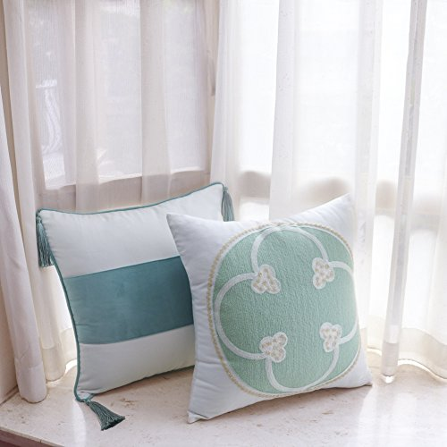 Valery Madelyn 18x18 Inch Cotton Velvet Decorative Pillow Cover for Sofa Couch, Green Embroidery Mediterranean Design