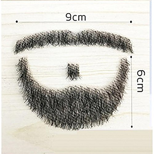 100% Human Hair Full Hand Tied Fake Mustache Beard Makeup for Entertainment/Drama/Party/Movie Prop (#2) -
