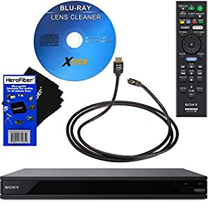Sony UBP-X800 / UBP-UX80 4K Ultra HD Wi-Fi Blu-ray Disc Player + Remote Control + Xtech Blu-Ray Disc Laser Lens Clner + High-Speed 4K60P HDMI Cable with Ethernet + HeroFiber Gentle Cleaning Cloth